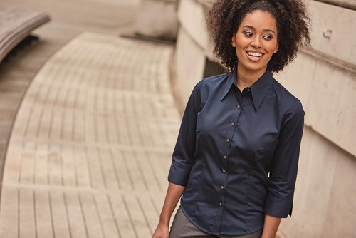 Ladies ¾ Sleeve Fitted Tencel® Shirt